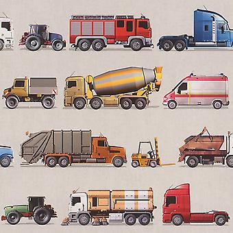 Rasch Trucks Tractors Vehicles Transporters Ambulance Wallpaper Kids Teens Boys
