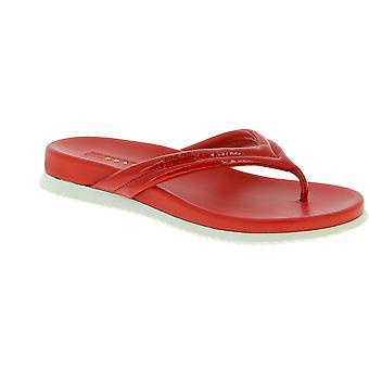 Prada Women rutschfeste Flip Flops in leuchtend roter Hochglanzfarbe und Leder
