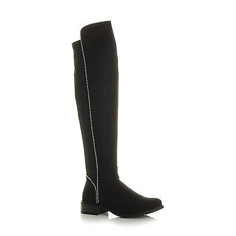 Ajvani womens low heel zip studded stretch elastic over knee riding boots