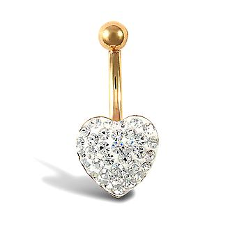 Jewelco London Ladies 9ct Yellow Gold White Round Crystal Love Heart Banana Belly Bar, 10mm