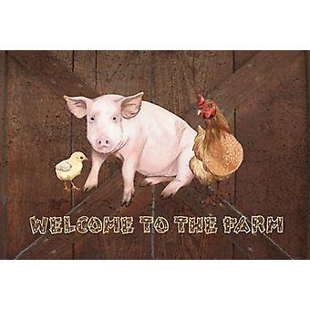 Bem-vindo à fazenda com o porco e frango Placemat tecido