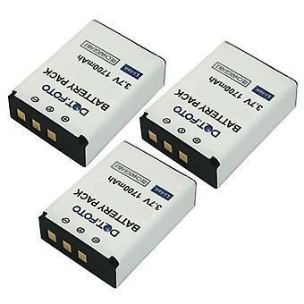 3 x batería de recambio CB-170 Dot.Foto Rollei - 3.7v / 1700mAh