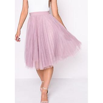 Pleated high Waisted Tüll Mesh Rock Pink
