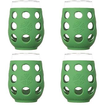 Lifefactory 320142 17oz BPA-Free Wine Glass 4-Pack with Silicone Sleeve - Green