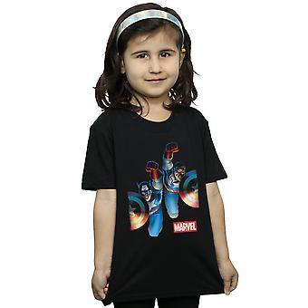 בנות מארוול פלקון וקפטן אמריקה לצד חולצת טריקו