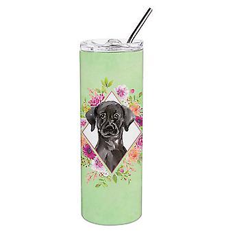 Schwarz Labrador grün Blumen Doppel wandbemauert Edelstahl 20 Oz Skinny Tumbler