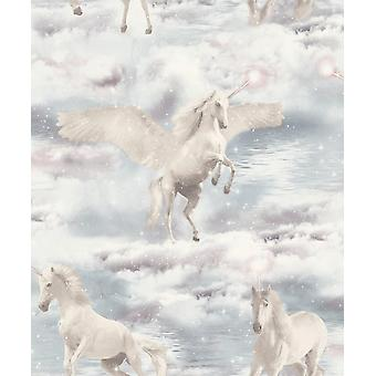 Arthouse Unicorn Kingdom Glitter Wallpaper Grey Clouds Water Fairytale Girls