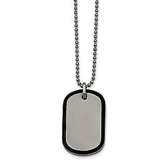 Bordes de acero inoxidable cepillado negro Ip Dogtag collar - 22 pulgadas