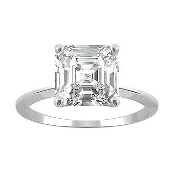 14K valkoinen kulta Moissanite by Charles & Colvard 8mm Asscher Engagement Ring, 2.21 CT DEW