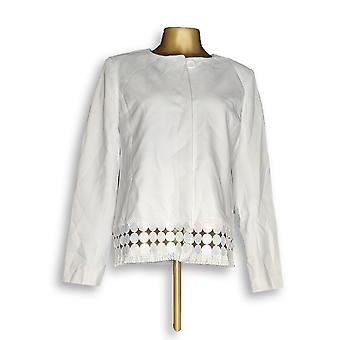 Dennis Basso Women's Blazer Luxe Crepe Button Front Jacket White A349295