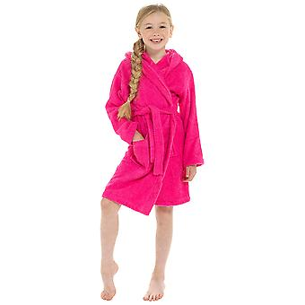 Girls Hooded Design Soft 100% Cotton Dressing Gown Bathrobe