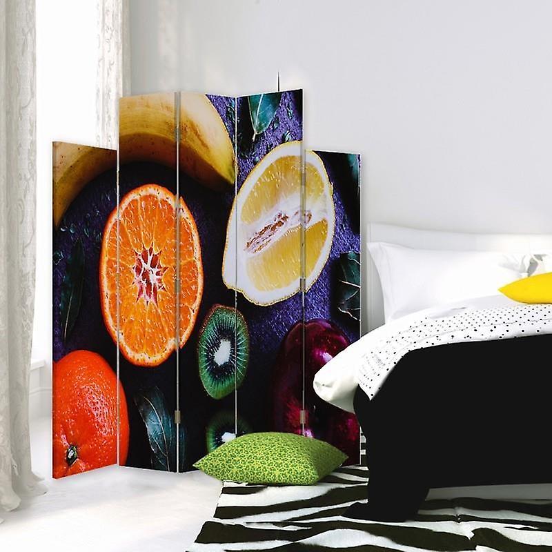 Diviseur de pièce décorative, 5 panneaux, double-sided, toile rotative de 360 , fruit sectionné 2