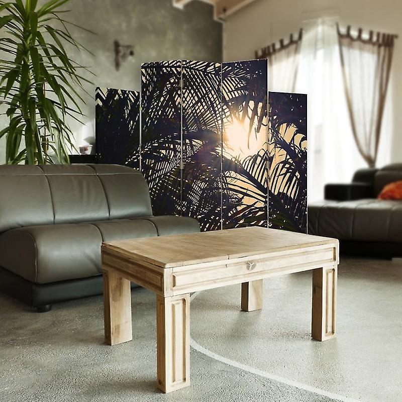 Diviseur de pièce décorative, 5 panneaux, double-sided, toile rotative de 360 , soleil derrière des palmiers 2
