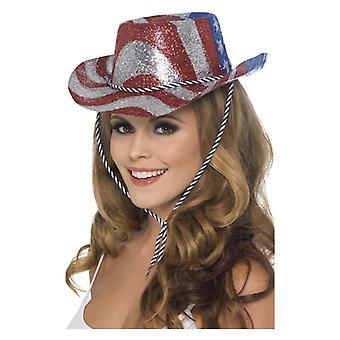 Mens rot silber & blau Glitzer Cowboy HatFancy Dress Zubehör