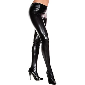Collants de wetlook metálico-preto