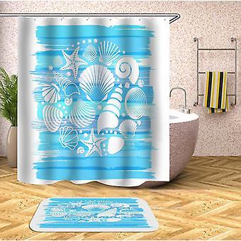 Conchas de mar se mezclan sobre la cortina de ducha azul