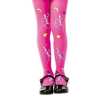 Pink Skeleton Costume Tights, M