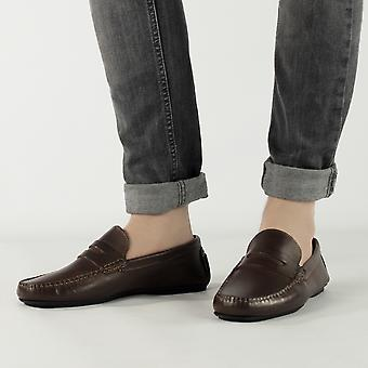 Catesby Shoemakers Joseph Mens Leather Casual Driving Loafers Brown