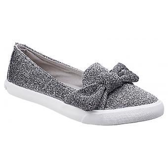 Rocket Hund Clarita Disco Damen Textil Slip auf Schuhe Silber