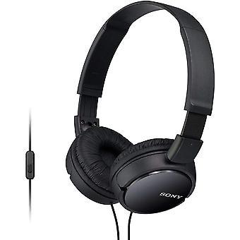 Εναέρια ακουστικά της Sony με το ευθύγραμμο MIC & τον έλεγχο-μαύρο (πρότυπο MDRZX110APB)
