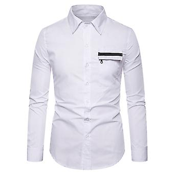 Allthemen Men's Pointed Collar Colorblocked Casual Long Sleeve Shirt