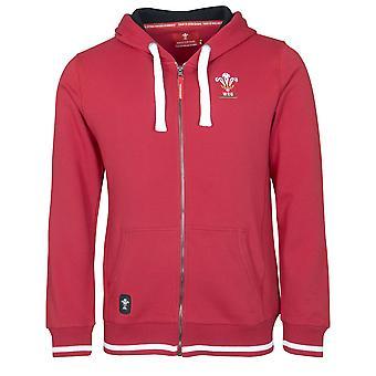 Wales WRU Rugby Mens Full Zip Hoodie