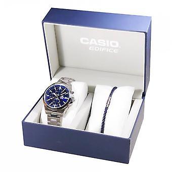 Coffret Casio EFV-560D-2-FR - Montre Edifice Acier Argent� + Bracelet en cuir v�ritable Homme