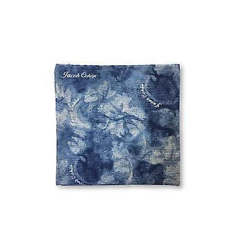 Jacob Cohen Pocket Square in blue and white floral design