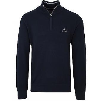GANT GANT Half Zip Navy Pique Sweatshirt