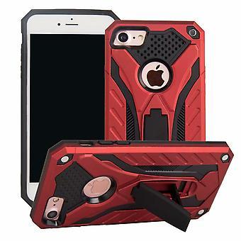 Para iPhone SE (2020), 8 y 7 caso, armadura fuerte a prueba de golpes Tough Cover con Kickstand, rojo