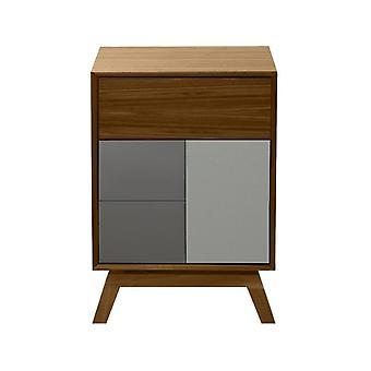 Fusion Living Danish Walnut And Grey Side Table