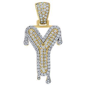 925 plata esterlina amarillo tono hombres mujeres CZ goteo carta nombre personalizado monograma inicial Y encanto colgante Necklac