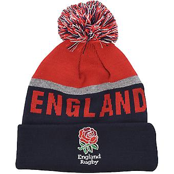 Official England Rugby RFU Adult Bobble Beanie Winter Knitted Hat - Navy/Red