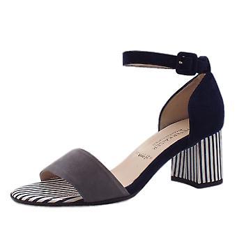 Peter Kaiser florentinsk ankel stropp bredt passform sandaler i notte semsket skinn