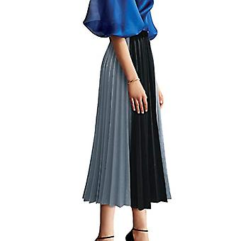 FUZEELY Women's Elegant High Elastic Waist Pleated A-line Two, Blue, Size Small