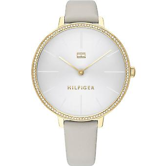 Tommy Hilfiger Watches 1782110 Women's Gold And Beige Leather Strap Watch