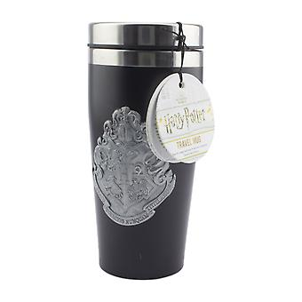 Hogwarts Travel Mug with Metal Badge Easy Clean Reusable Commuter Cup Insulated