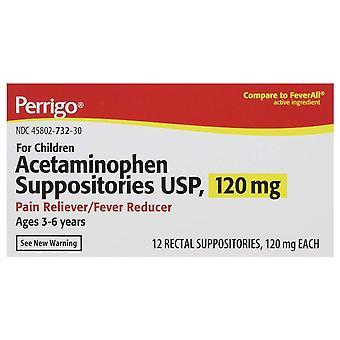 Perrigo acetaminophen suppositories usp, 120 mg, 12 ea