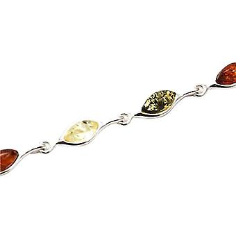 The Olivia Collection Sterling Silver Tri-Colour Amber Bracelet