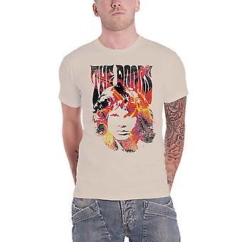 The Doors T Shirt Jim Face Fire Band Logo new Official Mens Natural