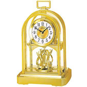 Rhythm 7744/9 Table clock Quartz analog golden with rotary pendulum