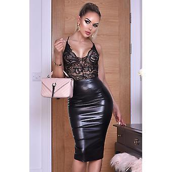 Kellie PU Midi Skirt - Ladies - Black