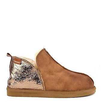 Shepherd of Sweden Annie Antique Cognac And Gold Slipper Boot
