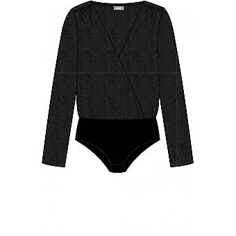 b.young Black Glitter Wrap Front Bodysuit