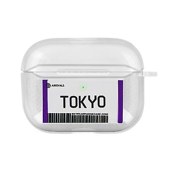 Tokyo Boarding Pass Soft Airpods Case Cover Anti-Scratch Carabiner- Transparent