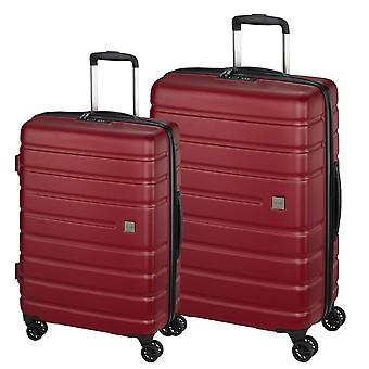 d&n Travel Line 2200 Suitcase Set 2 pezzi 4 ruote, rosso