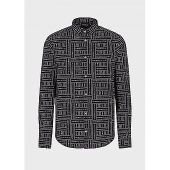 Emporio Armani Cotton Long Sleeve All Over Logo Black Shirt