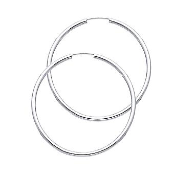 14k White Gold 2mm Round Tube Polished Endless Hoop Earrings 35mm Jewelry Gifts for Women