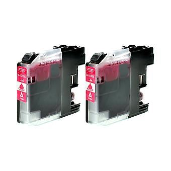 RudyTwos 2x Replacement for Brother LC-125XLM Ink Unit Magenta Compatible with DCP-J4110DW, DCP-J4100Series, DCP-J152WR, DCP-J752DW, DCP-J150
