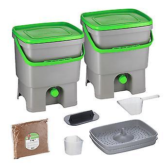Skaza Bokashi Organko Set van 2 keukencompostcontainers gemaakt van gerecycled plastic| | 2 x 16 l | Beginnersset voor keukenafval en compostering | met ME beregening 1 kg l grijs-groen